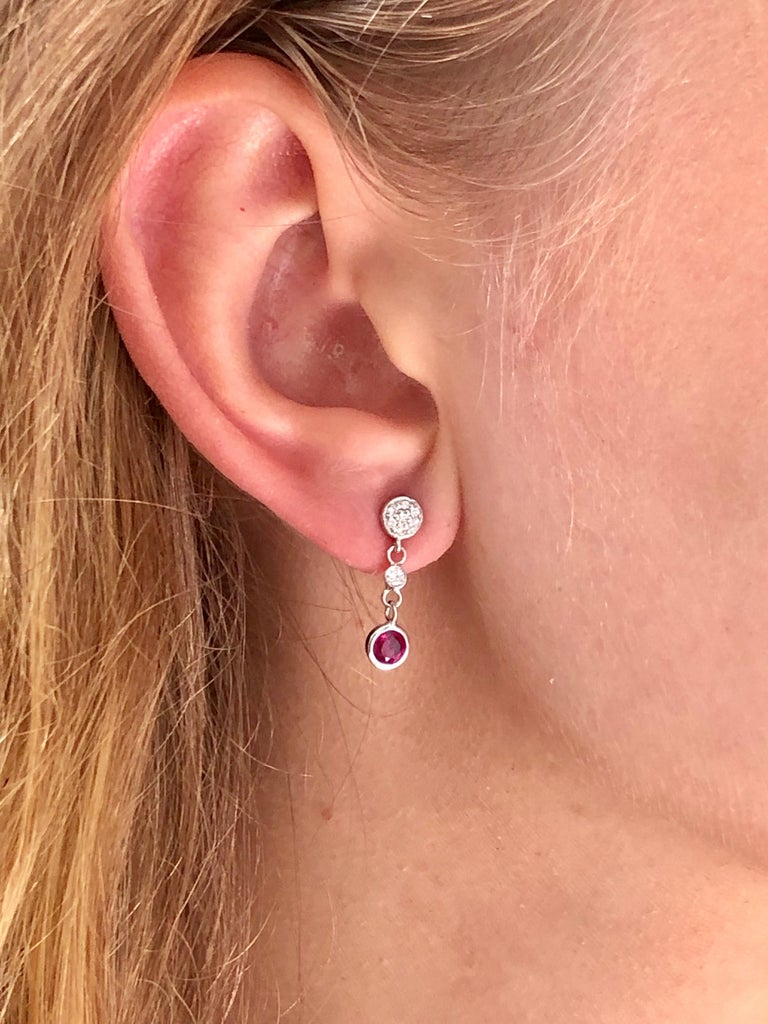 Women's Diamond and Round Ruby Drop Earrings Weighing 1.38 Carat For Sale