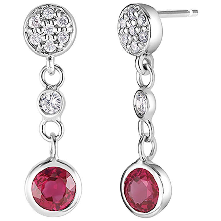 Diamond and Round Ruby Drop Earrings Weighing 1.38 Carat For Sale