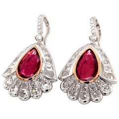 Diamond and Rubelite Earrings in 18 Karat White Gold