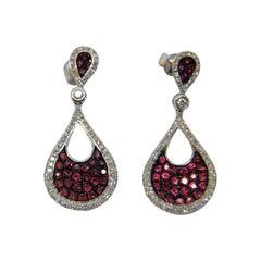 Diamond and Rubi Dangle Earrings in 18 Karat White Gold