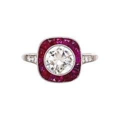 Diamond and Rubies Platinum Halo Art Deco Style Ring Estate Fine Jewelry