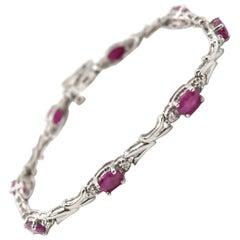 Diamond and Ruby 14 Karat White Gold Bracelet