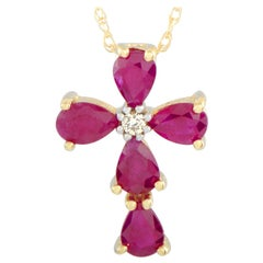 Diamond and Ruby 18 Karat Yellow Gold Cross Pendant Necklace