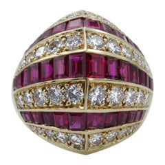 Diamond and Ruby 18 Karat Yellow Gold Dome Ring
