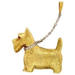 Diamond and Ruby 18 Karat Yellow and White Gold Scottie Dog Brooch