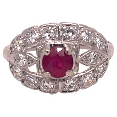 Diamond and Ruby Art Deco Ring in Platinum