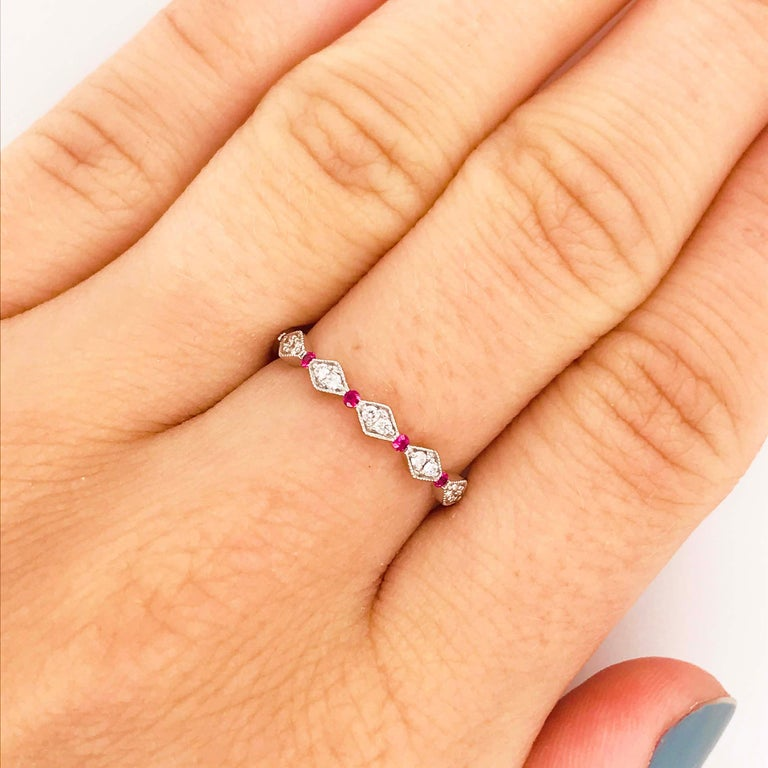Round Cut Diamond Ruby Band, Ruby and Diamond Stack Ring in 14k White Gold Size 6 For Sale
