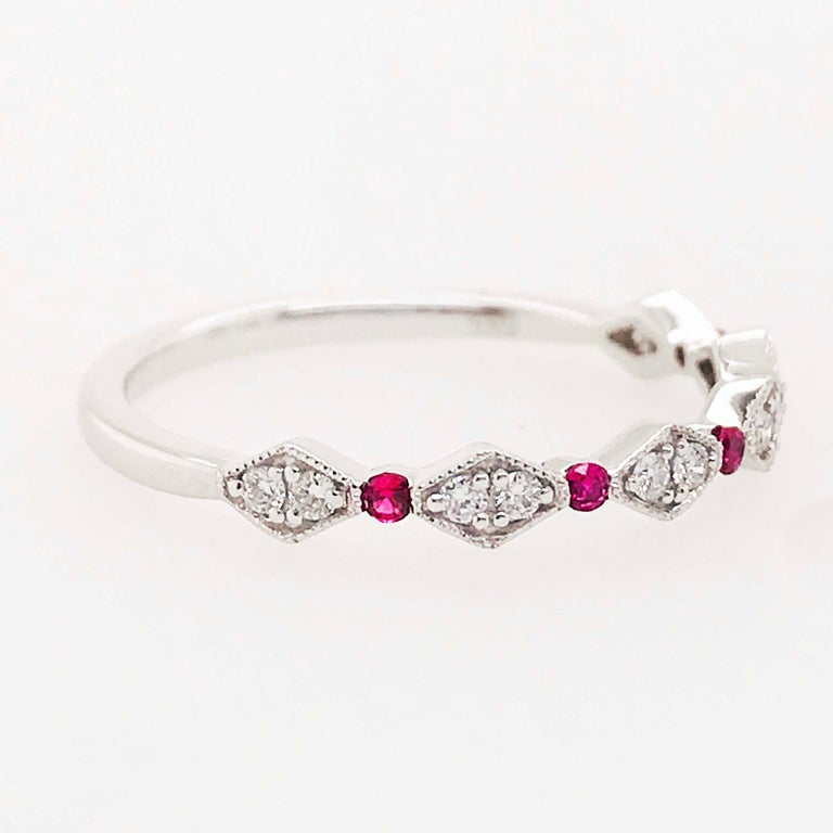 Diamond Ruby Band, Ruby and Diamond Stack Ring in 14k White Gold Size 6 In New Condition For Sale In Austin, TX