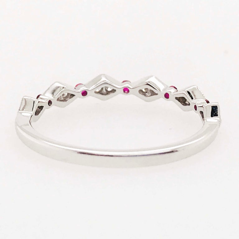Women's Diamond Ruby Band, Ruby and Diamond Stack Ring in 14k White Gold Size 6 For Sale