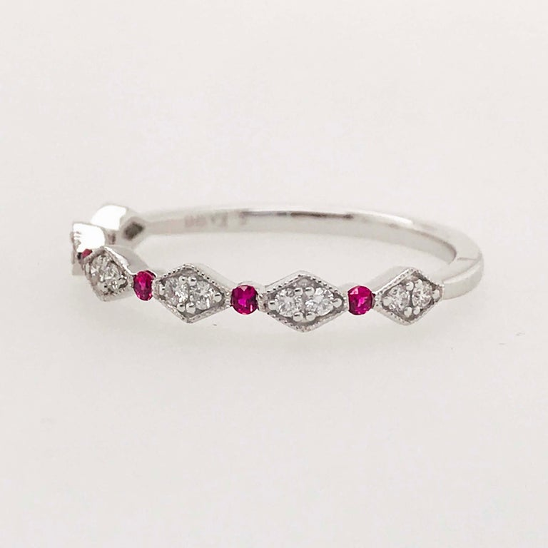 Diamond Ruby Band, Ruby and Diamond Stack Ring in 14k White Gold Size 6 For Sale 1