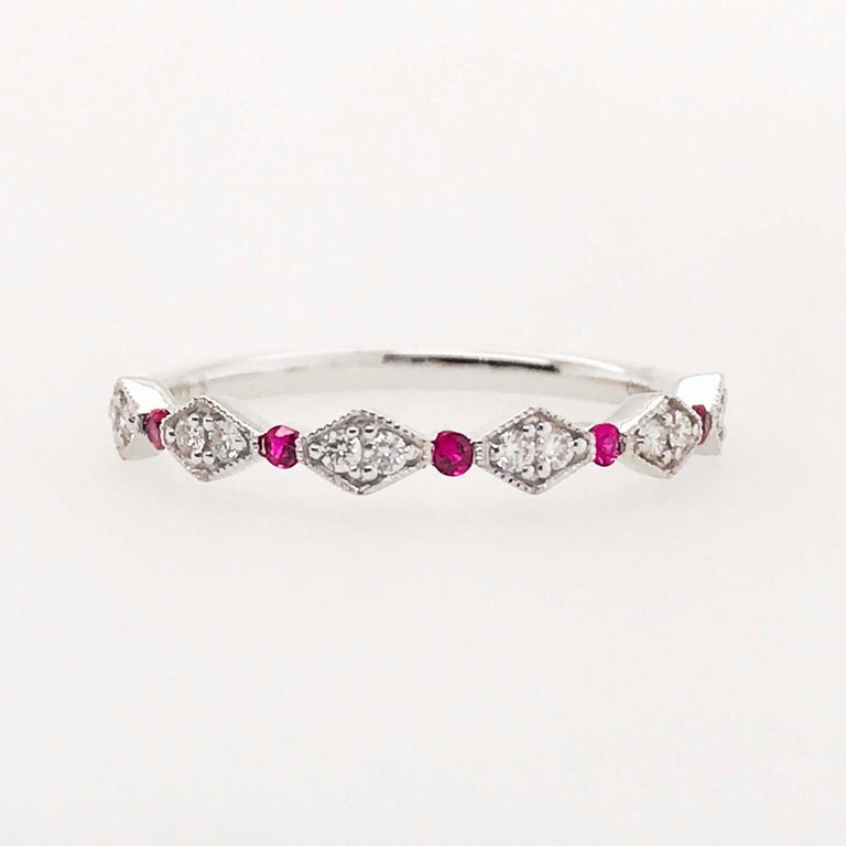 Diamond Ruby Band, Ruby and Diamond Stack Ring in 14k White Gold Size 6 For Sale 2