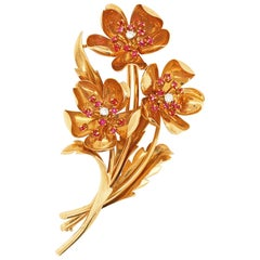 Diamond and Ruby Buttercup Flower Brooch, 1950s
