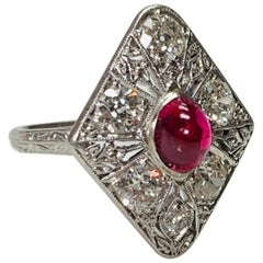 Diamond and Ruby Cabochon Ring in Platinum
