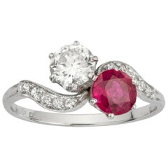 Diamond and Ruby Cross-Over Ring