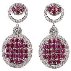 Diamond and Ruby Dangle Earrings 10.0 Carat Rubies and 4.11 Carat Diamonds