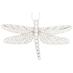Diamond and Ruby Dragonfly Brooch Set in Platinum