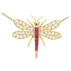 Diamond and Ruby Dragonfly Pendant Necklace Set in 18 Karat Yellow Gold