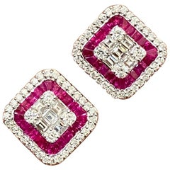 Diamond and Ruby Earring Studs