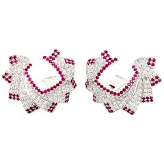 Diamond and Ruby Earrings in 18 Karat White Gold
