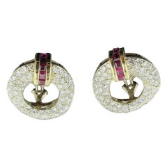 Diamond and Ruby Earrings Set in 18 Karat White and Yellow Gold