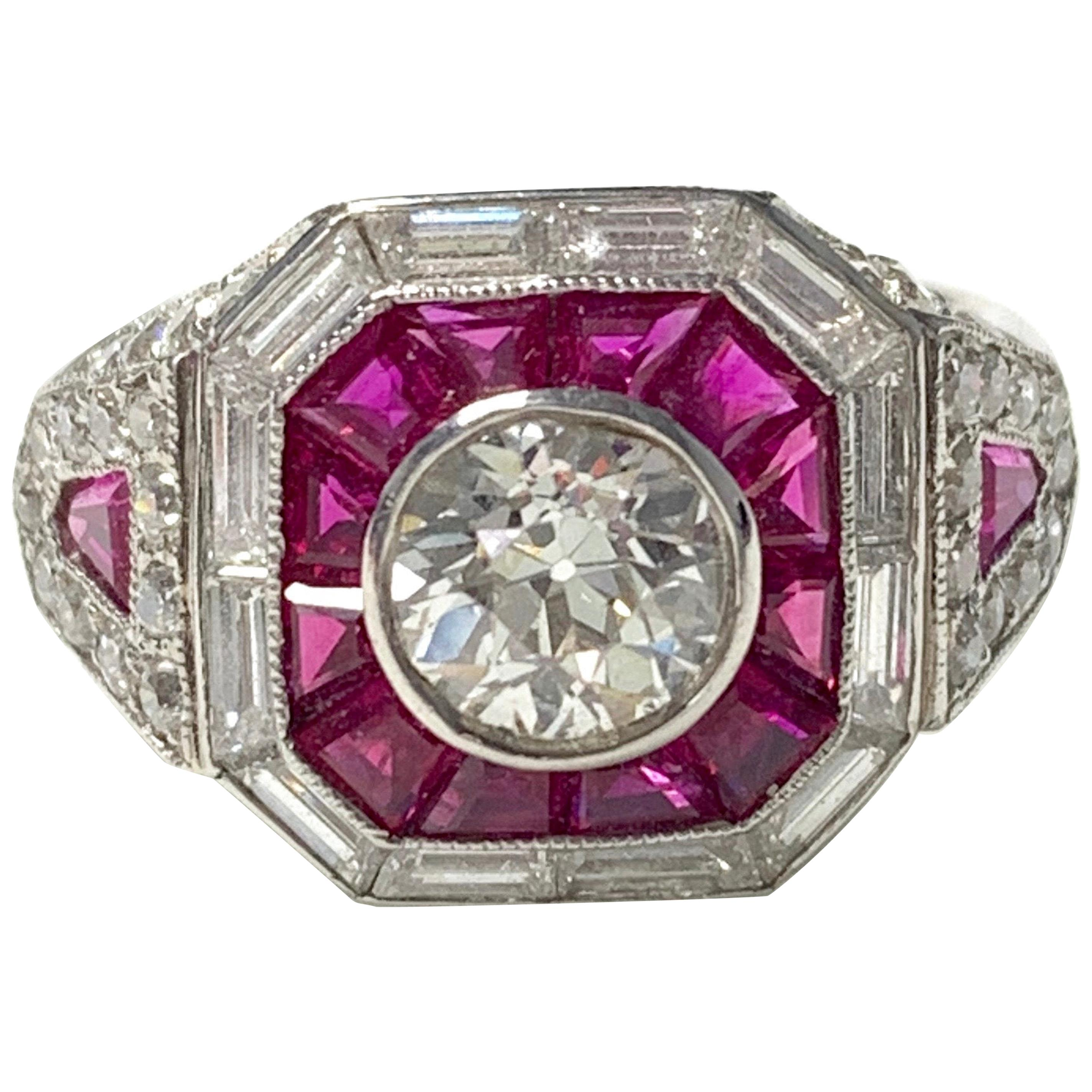 Diamond and Ruby Engagement Ring in Platinum