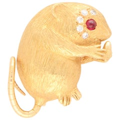 Diamond and Ruby Field Mouse Pin Brooch Set in 18 Karat Rose Gold