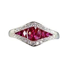 Diamond and Ruby Fine Platinum Ring