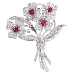 Diamond and Ruby Floral Brooch