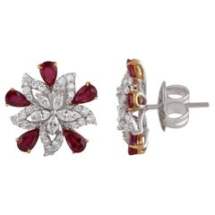 Diamond and Ruby Floral Stud Earrings in 18 Karat Gold