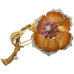 Diamond and Ruby Flower Brooch Pin, circa 1970