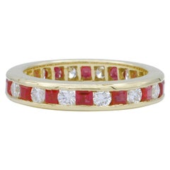 Diamond and Ruby Gold Eternity Band Ring