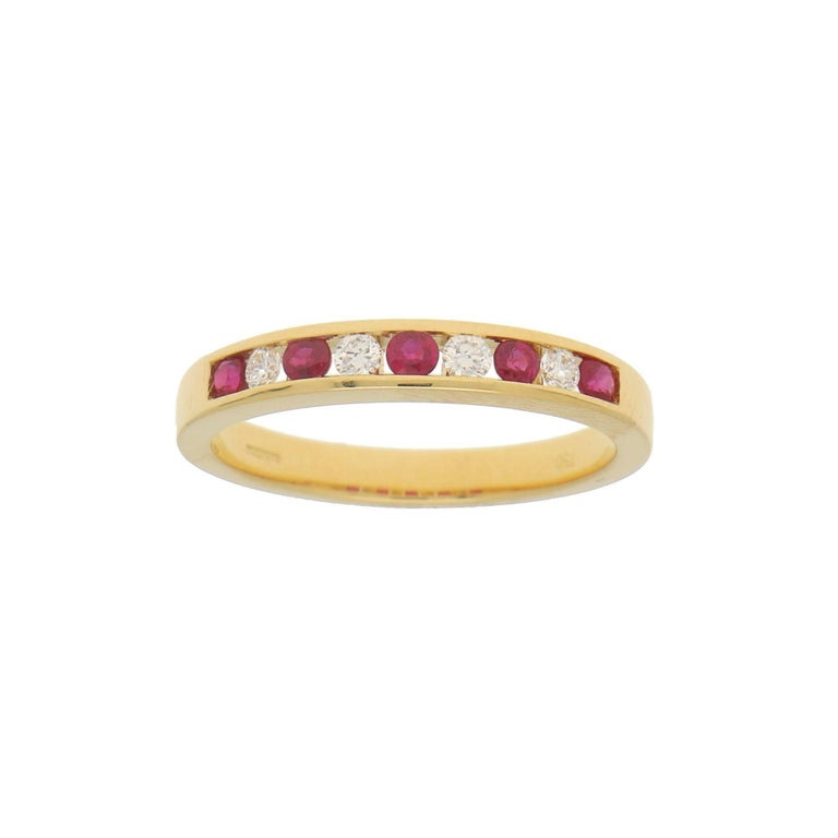 Modern Diamond and Ruby Half Eternity Ring in 18 Karat Yellow Gold For Sale