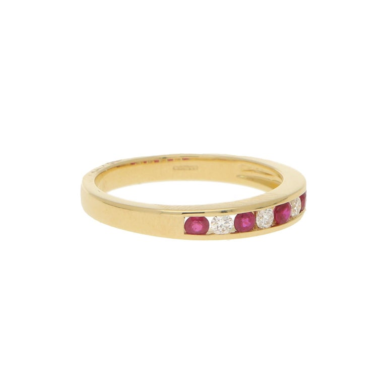 Round Cut Diamond and Ruby Half Eternity Ring in 18 Karat Yellow Gold For Sale