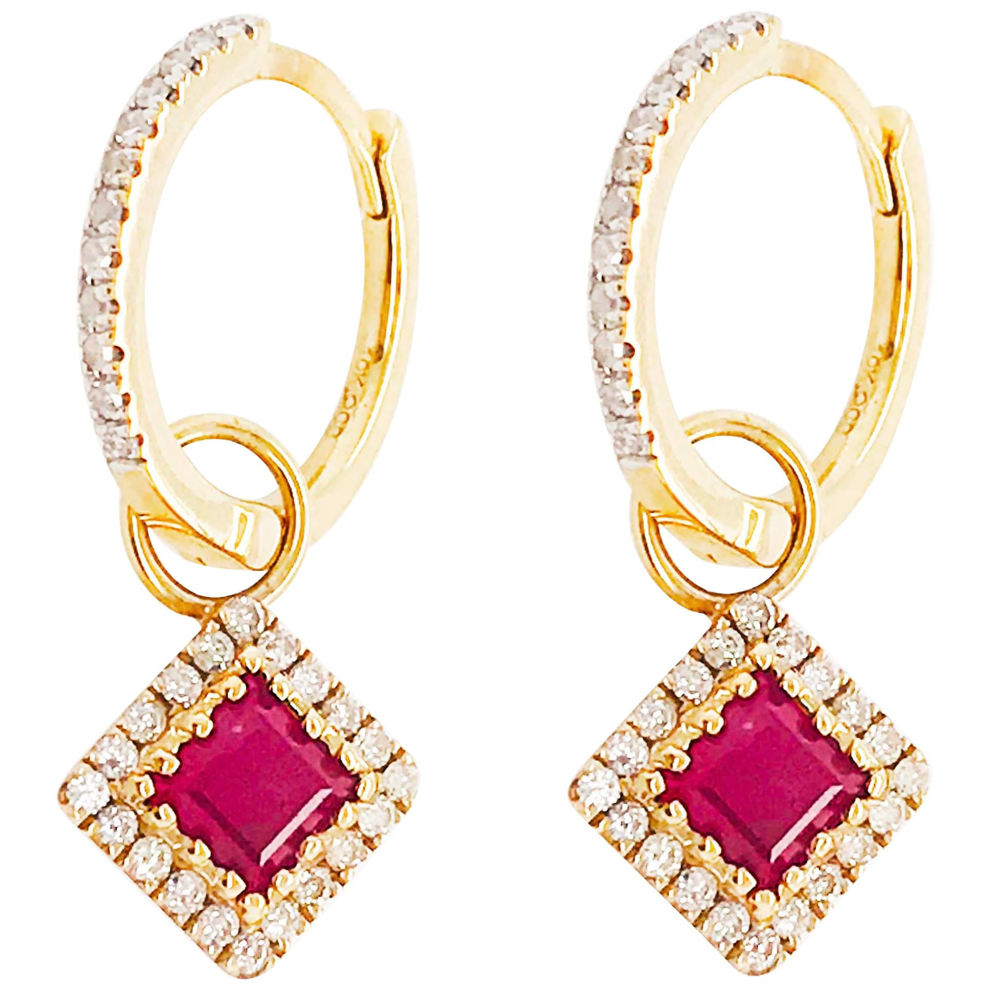 Diamond and Ruby Huggie Earrings, Gold Diamond Mini Hoops, July Diamond Charms