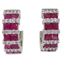 Diamond and Ruby Huggie Style Hoop Earrings