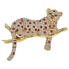 Diamond and Ruby Leopard Brooch