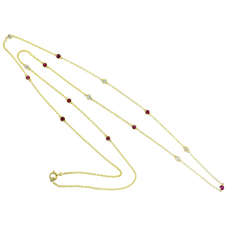 Diamond and Ruby Long Gold Chain For Sale