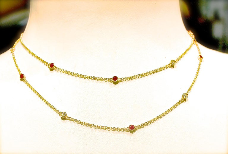 Diamond and Ruby Long Gold Chain In New Condition For Sale In Aspen, CO