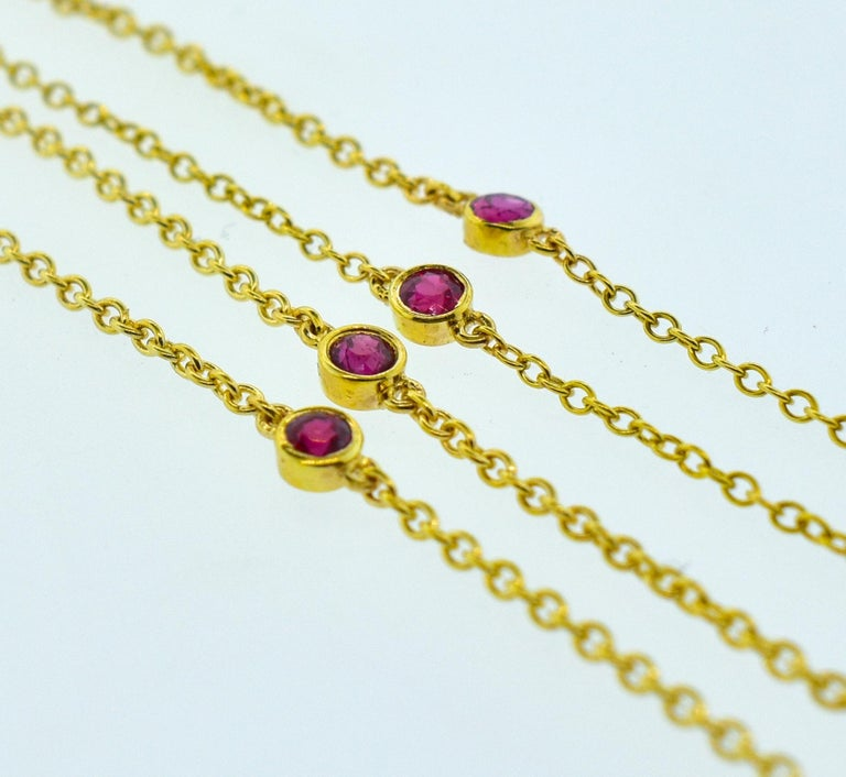 Diamond and Ruby Long Gold Chain For Sale 1