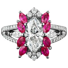 JAG New York Marquise Diamond and Ruby Platinum Ring