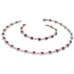 Diamond and Ruby Necklace and Bracelet Suite
