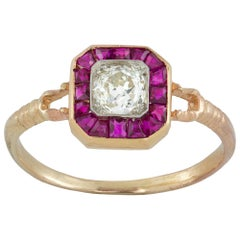 Diamond and Ruby Octagonal Cluster Ring