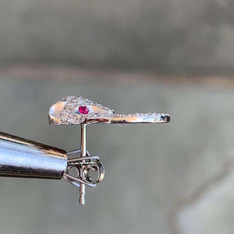 Modern Diamond and Ruby Panthere Studs, Ben Dannie For Sale