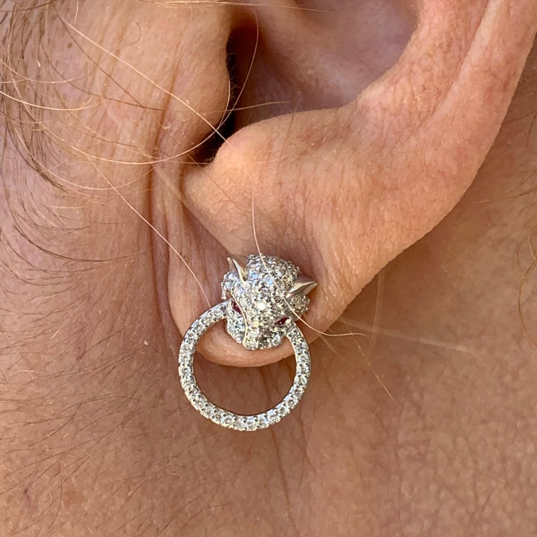 Diamond and Ruby Panthere Studs, Ben Dannie In New Condition For Sale In West Hollywood, CA