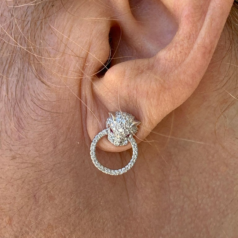 Women's Diamond and Ruby Panthere Studs, Ben Dannie For Sale