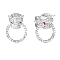 Diamond and Ruby Panthere Studs, Ben Dannie