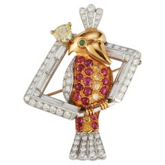 Diamond and Ruby Parrot Brooch with Emerald Eye