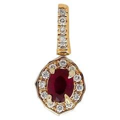 Diamond and Ruby Pendant, VS Quality 3-Sided Pave Diamonds .80 Carat Tcw