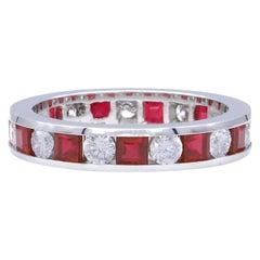 Diamond and Ruby Platinum Eternity Band Ring