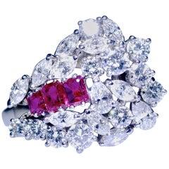 Diamond and Ruby Retro Platinum Ring, circa 1955